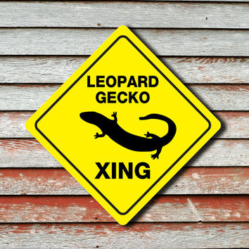 "LEOPARD GECKO CROSSING Funny Novelty Sign 12""x12"""
