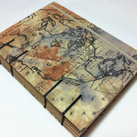 Old World Map Fabric Travel Journal Notebook - Handmade Coptic Stitched - Lined - Purse / Bag Size