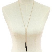 Gold Chain Long Necklace with Black Chain Tassel