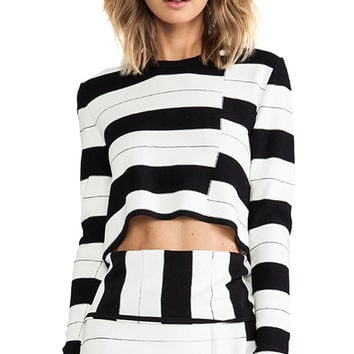 Thakoon Addition Staggered Stripe Pullover in Black