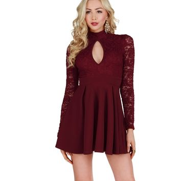 Burgundy Simply Elegant Skater Dress