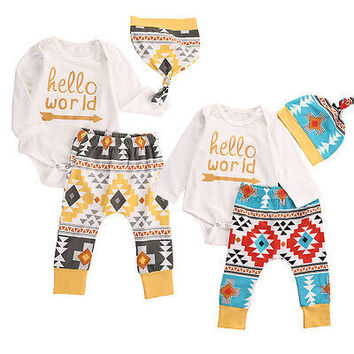 2016 Warm long sleeve Infant Baby Girl Boy Clothing Geo Print Clothes Romper Legging Hat 3pcs Set 0-18M