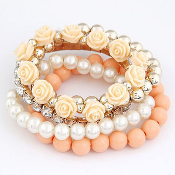 5PCS Faux Pearl and Candy Color Floral Beads Bracelets