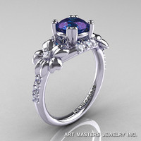Nature Inspired 14K White Gold 1.0 Ct Alexandrite Diamond Leaf and Vine Engagement Ring R245-14KWGDAL