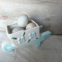 Vintage Wheelbarrow Planter, Blue White Pottery Container