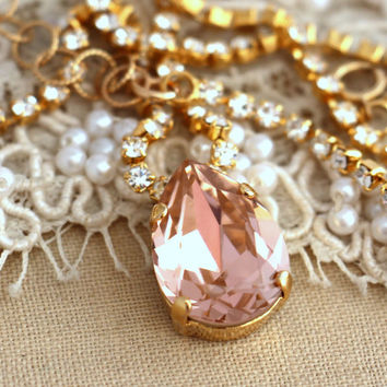 Blush pink Crystal Necklace, Bridal Blush pink necklace, Swarovski Crystal Necklace, Bridesmaids jewelry- Pink Blush necklace, Gold plated