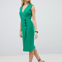 ASOS DESIGN v neck wrap dress with button detail at asos.com