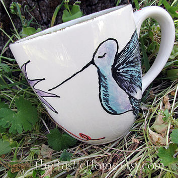 Hummingbird pottery mug garden cup tea coffee made to order