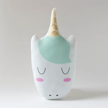 Gold Unicorn Pillow Plush - Mint Green Sleeping Unicorn Cushion - Gold & Enchanting Mint