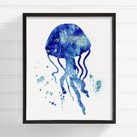 Watercolor Jellyfish, Jellyfish Art Print, Jellyfish Painting, Ocean Art, Coastal Wall Art, Bathroom Decor, Nautical Wall Decor, Sea Life