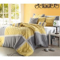 """Shelly"" Oversized & Overfilled 8 Piece Yellow & Grey Comforter Set, Queen Size"
