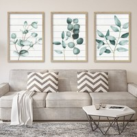 Silver Dollar Eucalyptus Wall Art, Canvas or Prints, Watercolor Painting Eucalyptus Plant Wall Decor, Minimalist Art Botanical Artwork Set 3