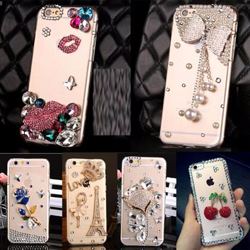 Soft Edge Acrylic mobile phone shell Bling Diamond Luxury Glitter Case For Galaxy J1 2016 /J120/Express 3/AMP 2 Case Cover