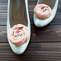 Peach Chiffon Roses Shoe Clips