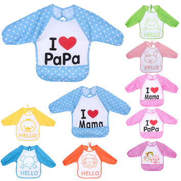 1 Pcs Baby Overclothes Inside Your Baby To Eat Clothes Dressing Down Waterproof Overalls Bibs & Burp Cloths #LD789