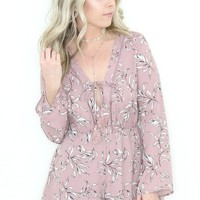 Lace Up Printed Romper