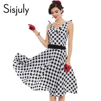 Women Vintage Dress 1950s Pin Up Style Retro Plaid Patchwork Dress Summer Sashes Sleeveless V Neck Party Vintage Dresses