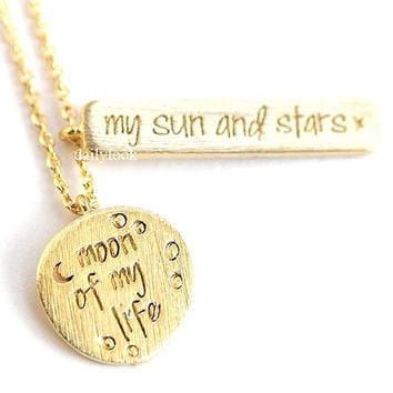 moon of my life necklace, my sun and stars, moon necklace, crest necklace, love necklace, eternity necklace, woman necklace, mothers day