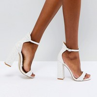 Be Mine Bridal Laurel White Glitter Block Heeled Sandals at asos.com