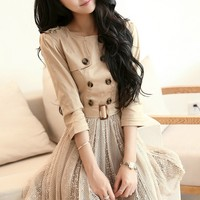 Trench Coat Top Belted Dress - OASAP.com