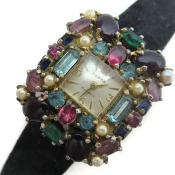 Ladies Rhinestone Watch - Glass Gem Encrusted, 17 Jewels, Swiss, Works, Pedre