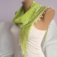Pistachio Green Scarf - Cotton White Floral Lace Scarf - Bohemian Scarf Accessories