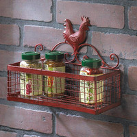 Country Red Rooster Single Basket Rectangular Storage Organizer Wall Rack