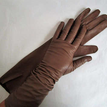 Vintage 1960s Opera Gloves Peanut Brown Doeskin 60s Kid Leather Eaton's of Canada Long Gloves 7