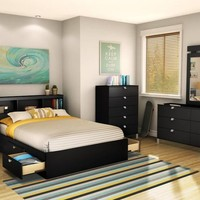 Jaffrey Black Queen Size Storage Bed