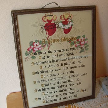 House Blessing Religious Poem Irish Catholic Prayer House Warming Gift or Christmas Gift 1940s Original Frame