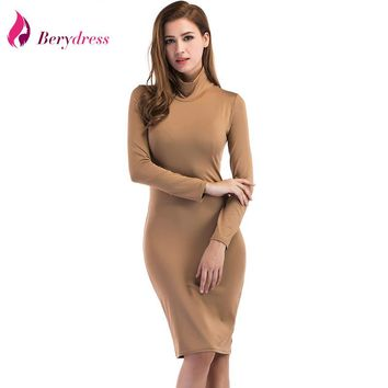 Berydress Winter Spring Elegant Women Turtleneck Long Sleeve Solid Stretchy Bodycon Sheath Casual Pencil Dress Knee-Length