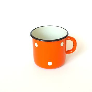 Soviet Camping Cup. Vintage Metal Mug Enamel. Polka Dot Mug. Orange Cup With White Dots. Cute Travel Mug. Hikers Mug. Retro Kitchen Decor
