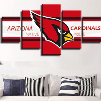 5 Pieces Arizona Cardinals Red Bird Canvas Painting Wall Art Poster Home Decor Wall Pictures For Living Room Modular Pictures