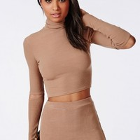 CUT OUT ELBOW RIBBED JERSEY CROP TOP CAMEL