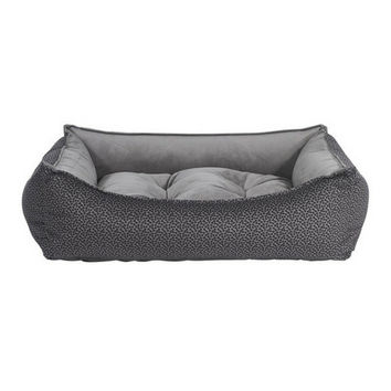 MicroVelvet Scoop Bolstered Dog Bed — Pewter Bones / Dusk
