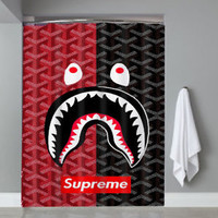 Top Famous Hot Bape Supreme Logo Red Black Custom Shower Curtain Limited Edition