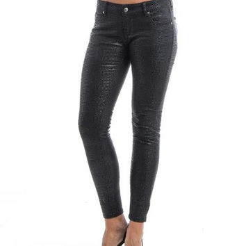 Super Skinny Raised Mosaic Texture Black Twill Jeans SP1078