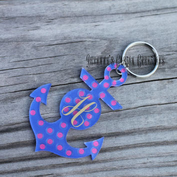 Anchor Keychain with Initial and Polka Dots