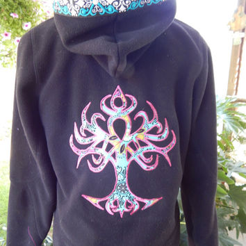 Black Fleece Celtic Tree of Life Upcycled Zip Up Hoodie Vintage Flower Trim OOAK Size S Patchwork  Hippie clothes, boho chic zip up jacket