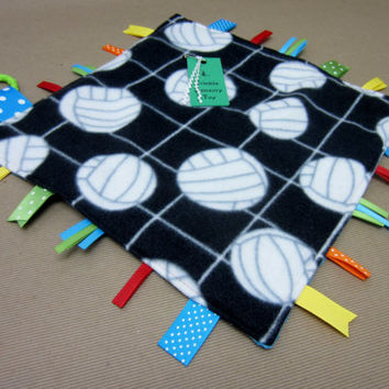 Baby Crinkle Sensory Toy / tag blanket / ribbon lovie blankie / volley ball team sports sporty athlete athletic / blue / READY TO SHIP (184)