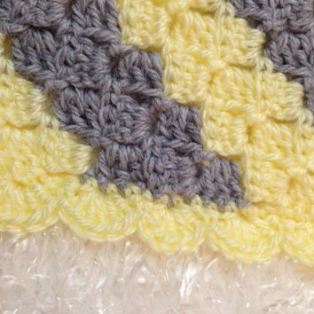 Yellow and Grey Striped Baby Blanket/crochet afghan/yellow and gray