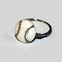 Baseball inspired wire ring