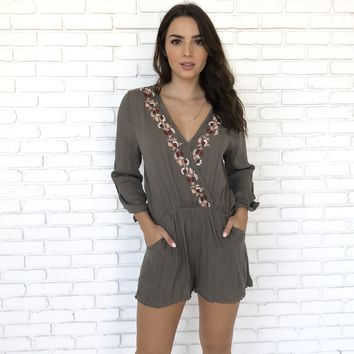 Floral V-Neck Romper in Olive