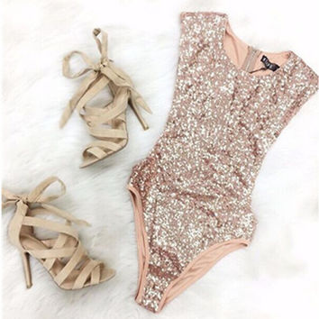 Swimwear Gold Sleeveless Jumpsuit [10671941639]