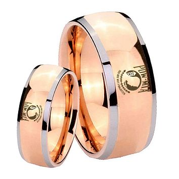 His Hers Rose Gold Dome Military Pow Two Tone Tungsten Wedding Rings Set