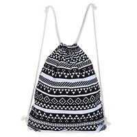 Boho National Ethnic Stripe Drawstring Women Canvas Backpack Students School Bagpack Vintage Mochila Feminina Sack Bag