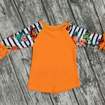 In Stock -  Orange And navy  Floral icing raglan Tshirt