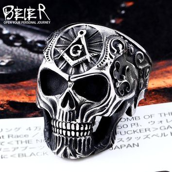 BEIER Hiphop style Stainless Steel Men Ring Masonic Skull Titanium Rings for men Vintage Punk Fashion Jewelry Gift BR8-539