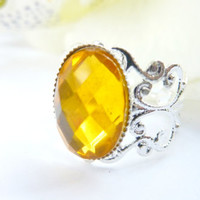 Honey yellow gold ring Vintage silver filigree adjustable ring