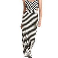 Black Combo Striped Cut-Out Maxi Dress by Charlotte Russe